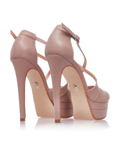 Sandale Platforma Toc Inalt Piele Naturala Nude GEMELLI Shoes | Comanda Pantofi la comanda lucrati manual din piele naturala de calitate.