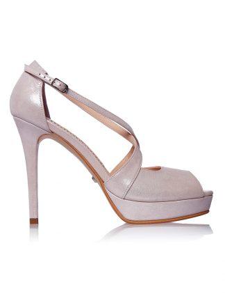 Sandale Piele Toc Inalt Rose Sidefat Platforma GEMELLI Shoes | Comanda Pantofi la comanda lucrati manual din piele naturala de calitate.