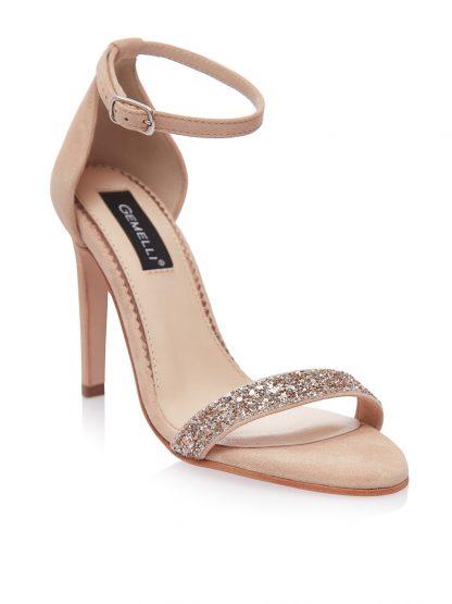 Sandale Nude Elegante Ocazie Glitter Piele Naturala GEMELLI Shoes | Pantofi la comanda lucrati manual din piele naturala de calitate.