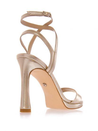 Sandale Aurii Ocazie Toc Subtire Piele Naturala GEMELLI Shoes | Comanda Pantofi la comanda lucrati manual din piele naturala de calitate.