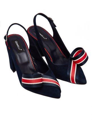 Sanda Bleumarin Toc Patrat Piele Antilopa GEMELLI Shoes Romania Pantofi la comanda lucrati manual din piele naturala disponibili pe orice culoare