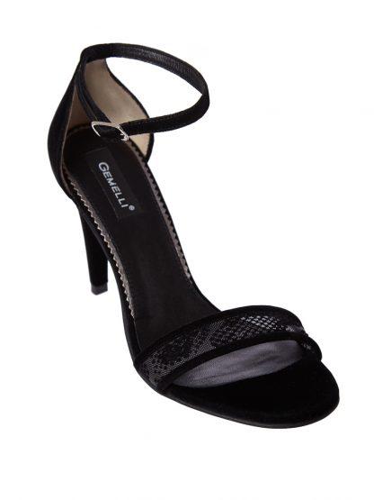 Sandale Negre Elegante Ocazie Piele Intoarsa Naturala GEMELLI Shoes | Pantofi la comanda lucrati manual din piele naturala de calitate.