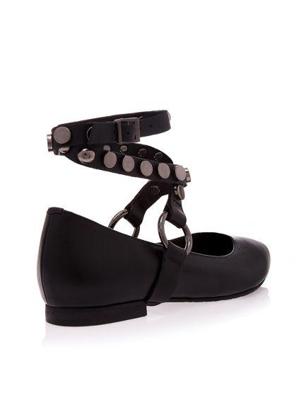 Balerini Negri Piele Naturala Accesorii Argintii GEMELLI Shoes Online Romania Comanda Pantofi la comanda lucrati manual din piele naturala
