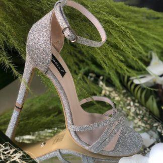 Sandale Argintii de Ocazie cu Glitter Elegante GEMELLI Shoes 2020 elegante Constanta Romania Pantofi la comanda lucrati manual din piele naturala