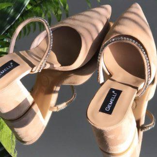 Sandale Elegante Nude Toc Gros Cristale GEMELLI Shoes Romania | Pantofi la comanda lucrati manual din piele naturala de calitate.