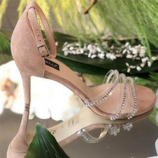 Sandale Elegante Piele Naturala Nude Cristale Toc GEMELLI Shoes | Pantofi la comanda lucrati manual din piele naturala de calitate.