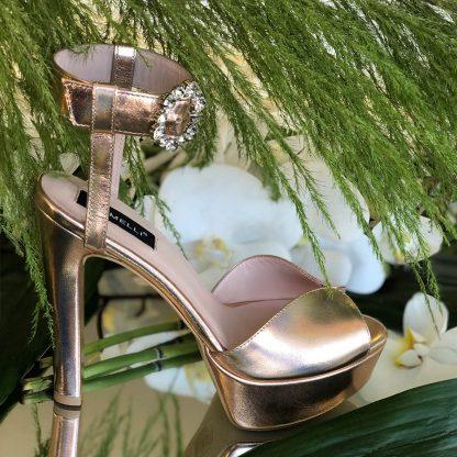 Sandale Piele Auriu Roze de Ocazie cu Platforma GEMELLI Comanda Online Pantofi la comanda lucrati manual din piele naturala orice masura