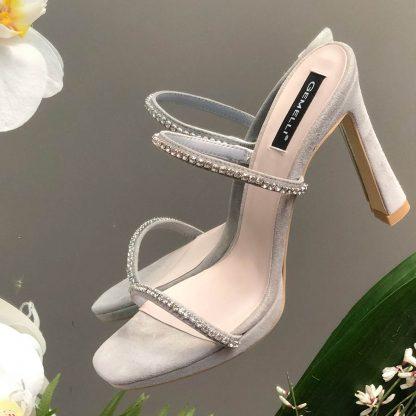 Sandale Piele Intoarsa GRI Elegante Cristale Toc GEMELLI Shoes | Pantofi la comanda lucrati manual din piele naturala de calitate.