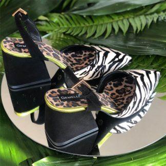 Sandale Piele Neagra Animal Print Zebra Leopard GEMELLI Shoes | Pantofi la comanda lucrati manual din piele naturala de calitate.