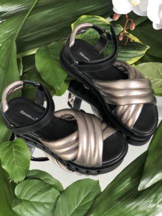 Sandale Argintii Talpa Joasa Piele Naturala Casual GEMELLI Shoes Online Pantofi la comanda lucrati manual din piele naturala orice masura