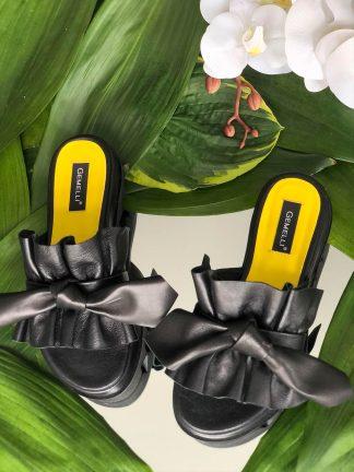 Sandale Galbene Talpa Joasa Piele Naturala Casual GEMELLI Shoes Online Pantofi la comanda lucrati manual din piele naturala orice masura