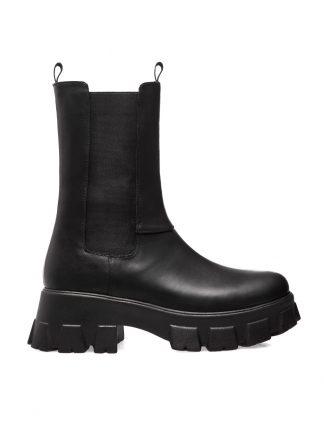 Bocanci Negri Piele Naturala Elastic Toamna Iarna GEMELLI Shoes Online Toamna sport casual lucrati manual disponibili pe orice culoare