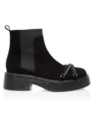 Ghete Casual Negre Piele Intoarsa Lant GEMELLI SHOES Constanta Romania Pantofi la comanda lucrati manual cu maiestrie din piele naturala