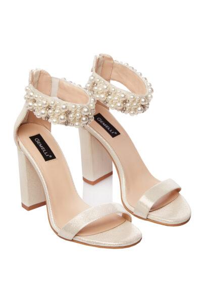 Sandale de Ocazie Elegante Ivoire cu Perle Nunta Gemelli Shoes Comanda Online Pantofi la comanda lucrati manual din piele naturala orice masura