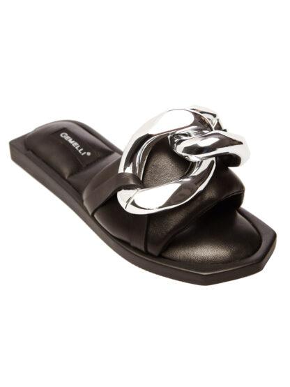 Sandale Joase Negre Accesoriu Argintiu Primavara Vara GEMELLI Comanda Online sport casual lucrati manual disponibili pe orice culoare
